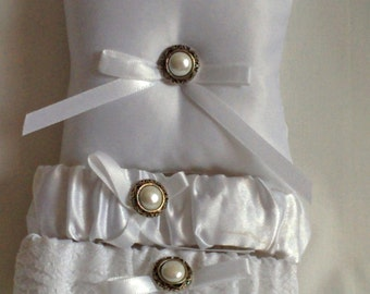"Silver and White Ring Bearer Pillow, small simple bridal pillow, silver button white ribbon -- approx. 3"" square"
