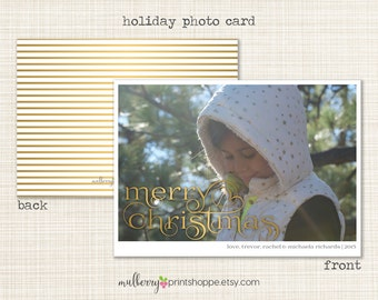 Christmas Photo Card - Printable or Printed Holiday Cards/ Announcement- 2015 - COLORS CHANGEABLE