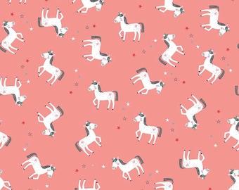 Riley Blake. Princess Dreams. Unicorn Coral - Cotton Fabric BTY - Choose your cut