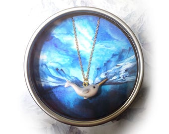 Narwhal necklace + Tin Box for Gifting, Narwhal Jewelry Adorable little narwhal pendant, gold plated chain, narwhal gift
