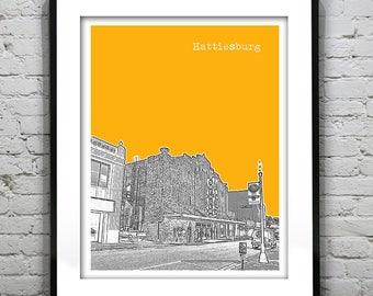 Hattiesburg Mississippi Skyline Poster Art Print MS Item T1060