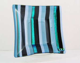 Fused Glass Dish - Black and Blue Stripes - Dichroic Glass Plate - Square Glass Dish - Blue Trinket Dish - Candle Plate - Xmas Gift For Men