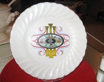 """Vintage 1970's Six-Flags Over Georgia Souvenir Plate - Salem Swirl, USA 10""""D MINT Condition"""