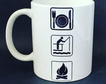 Eat Fish campfire mug, Camping mug,  fishing coffee Mug, weekend camping Mug, campfire mug, dishwasher safe
