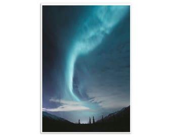 Northern Lights Galaxy Art Print, Colourful Sky Art Poster - Canvas Art Prints, Wall Art, Art on Canvas Aurora Borealis Art Print Wall Decor