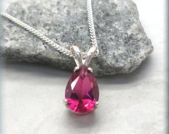 Pear Ruby Necklace, 925 Sterling Silver, July Birthstone Necklace, Gemstone Jewelry, Teardrop Red Ruby Pendant, Birthday Gift for Her