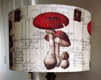Vintage old script lampshade decoupage shabby chic red and cream kitch dining room lounge bedroom toadstool mushroom vintage bill