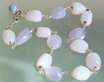 Natural Chalcedony Sterling Silver Statement Necklace