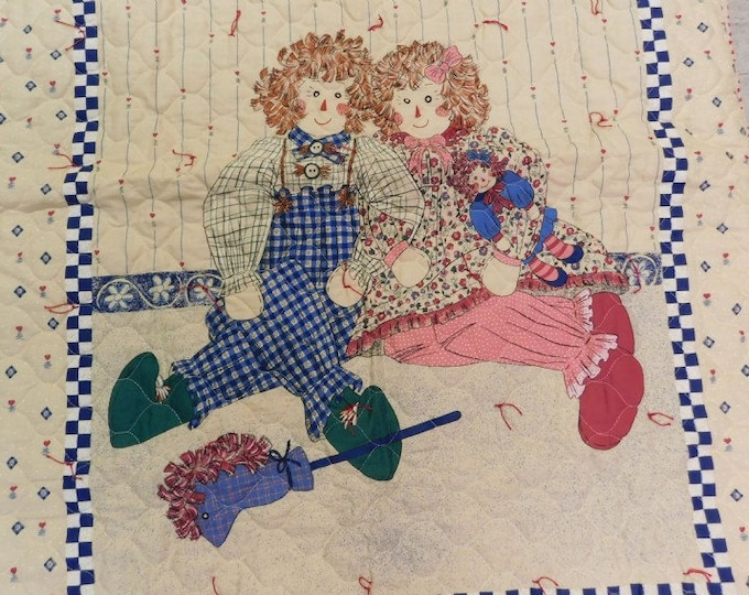 Raggedy Ann & Andy Child's Handmade Blanket - Excellent Condition- Reduced Shipping