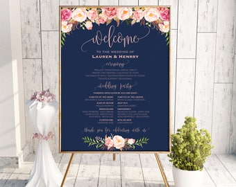Printable Navy Wedding Program Board Sign Template, Editable Pink Floral Program Poster, DIY Welcome Sign, 3 Sizes Instant Download PDF #103