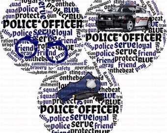 Police Officer Word Art Bottle Cap Images 4x6 Bottlecap Collage Scrapbooking Jewelry Hairbow Center