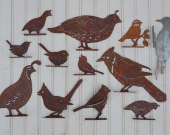 Iron Birds Garden Art Chickadee Quail Blue Jay Woodpecker Carolina Wren Titmouse Birdhouse State Bird