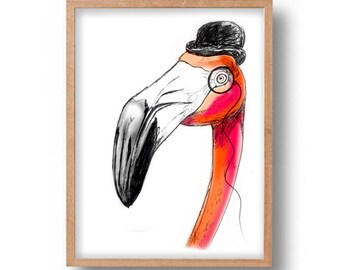 Flamingo Print  Vibrant A4 Limited Edition Fine Art Print. trend on hot pink ,Wall Art, Poster, Illustration,Drawing, Artwork