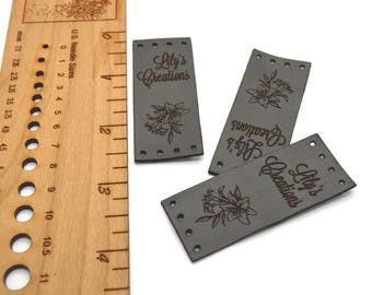 Laser engraved labels 1x2.5 inches - made from real leather - Leather labels, Personalized leather labels, Leather tags , Custom Labels