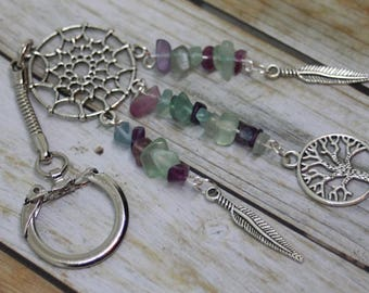 Tree of Life Keyring, Tree of Life Jewelry, Crystal Keychain, Crystal Keyring, Dreamcatcher, Fluorite Crystal, Dreamcatcher Keychain