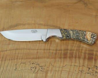 Leopard skin jasper knife scales on stainless steel blade