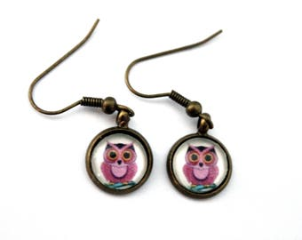 "Earrings cabochon ""OWL rose"" - retro bronze plated brass"