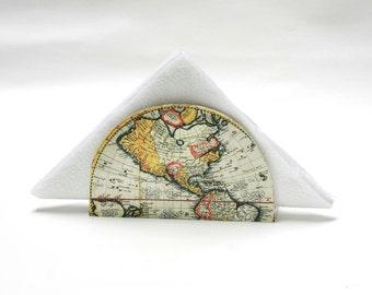 Antique Map Napkin holder, Golden  Napkin Box, Hostess gift, Decoupage Napkin Box, Vintage World map, Cottage chic, Country decor