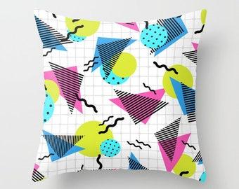 80s Pillow, Memphis Style Throw Pillow, Retro Vibe Cushion, Pop Art, Polka Dot, Graphic Grid, Geometric Design, Throwback Decor, Dorm Decor