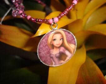 Princess necklace purple pink girl