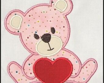 INSTANT DOWNLOAD Valentine Teddy Bear Applique designs