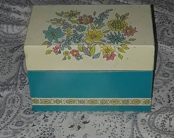 Cute vintage metal post card box