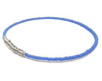 Beaded Bracelet / Eco-Friendly Jewelry / Periwinkle Purple Silver Seed Bead Bangle Bracelet / Friendship Bracelet / Bridesmaid Gift / Sister