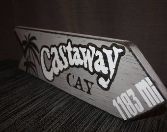 Disney Home Decor Sign –Castaway Cay Landmark Distance Arrow Sign - This Many Miles to Castaway Cay - Disney Cruise Vacation