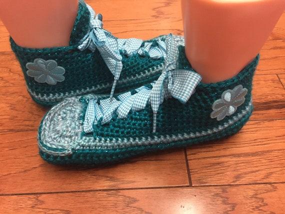 276 sneakers sneakers teal Listing crocheted shoe sneaker Womens slippers flower 9 slippers flower tennis teal slippers 7 Crocheted sneakers nYOUfxn
