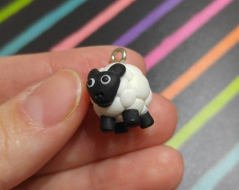Polymer Clay Baby Sheep Charm, Easter Charm, Clay Sheep, Glitter Woolen Sheep