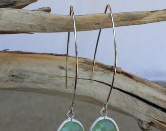 Bezel Set, Drop Earring, Faceted Glass, Silver Ear Wire, Mint Green