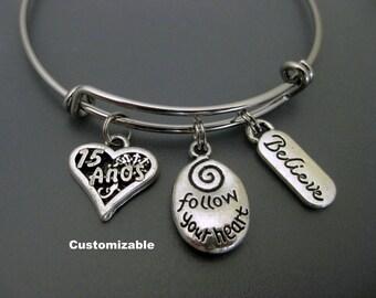 Quinceañera Bracelet Bangle / 15th Birthday Bangle / Charm Bracelet / Adjustable Bangle / Expandable Bracelet / Fiesta de Quince Años