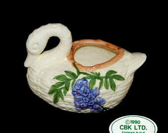 Vintage CBK LTD. Swan Planter with Hand Made Purple  Wisteria Floral Design