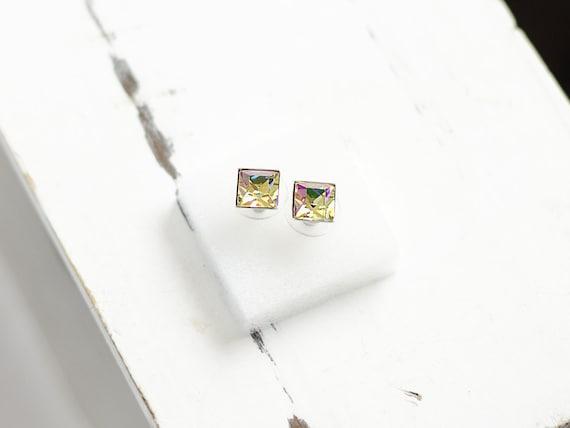 Princess Cut Crystal Earrings | Square Stud Earrings | Luminous Earrings | Tiny Earrings | Everyday Jewelry | Multi Color Swarovski Earrings