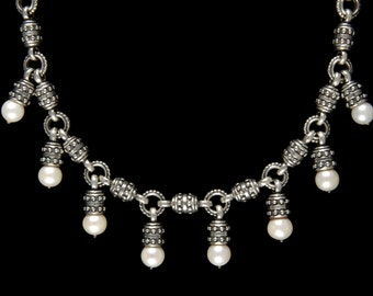 Eight Pearl Drop Necklace, B.C. Silver Collection     6164SXL
