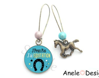 Earrings blue horse riding horse shoe beads romantic