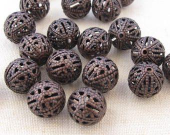 40 10 mm filigree round beads