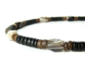 """Mens Jewelry - Wood necklace for men made with striped agate beads. """"Agate & Wood Necklace"""""""
