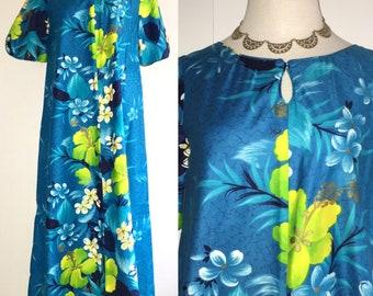 Sears Vintage Hawaiian Dress Maxi Long Muumuu Floral Blue Short Sleeve Aloha