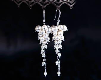 Cluster earrings Long Bridal earrings Silver earrings Cluster Bridal earring Bridal pearl earring SWAROVSKI earrings White earrings 515