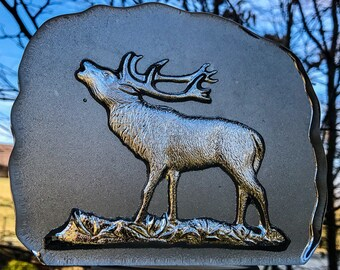 Moose /Elk engraved lead glass. Artistic decoration or can be used as paper weight.