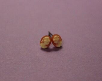 Teeny Tiny Red Lady Cameo Earrings