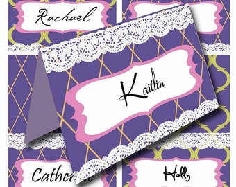 Purple Place Cards Ultra Violet Gold Name Cards, Modern Lace, Tent Cards, Purple & Gold, color of the year, party supplies, tea party tags