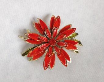Vintage Orange Flower Brooch