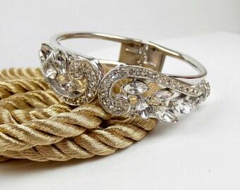 SALE  Vintage Rhinestone Hinged Clamper  Bracelet Old Hollywood Glam NOW 80.00