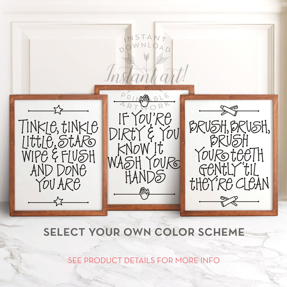Funny Kids Bathroom Art ALL 3 PRINTABLE Bathroom Wall