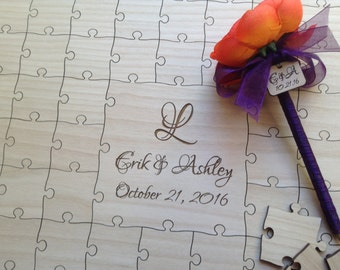 Wedding Package - Custom Wedding Guest Book Puzzle with Sign and Pen
