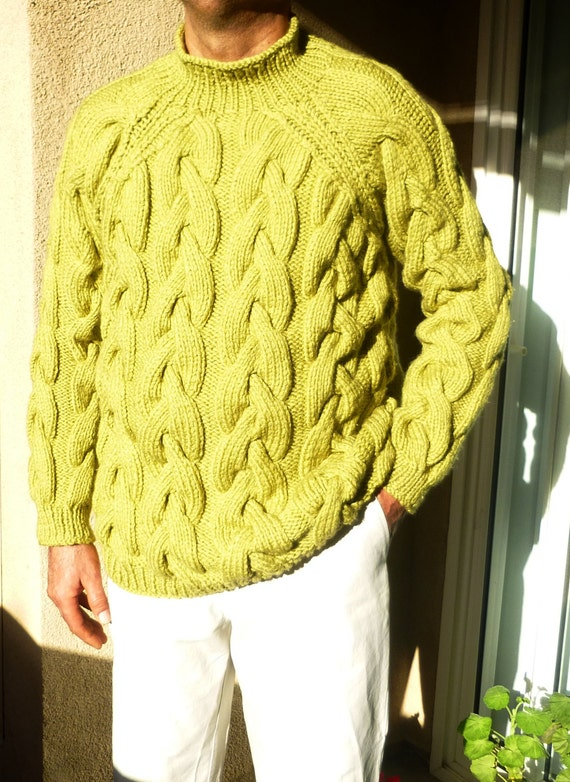 Chunky Cable Knit Sweater For Him Men Knit Sweater Heavy