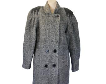 80s Winter Coat Wool Winter Coat Women Winter Coat Wool Coat Tweed Coat Black and White Black Leather Coat Double Breasted Boho Chic Coat