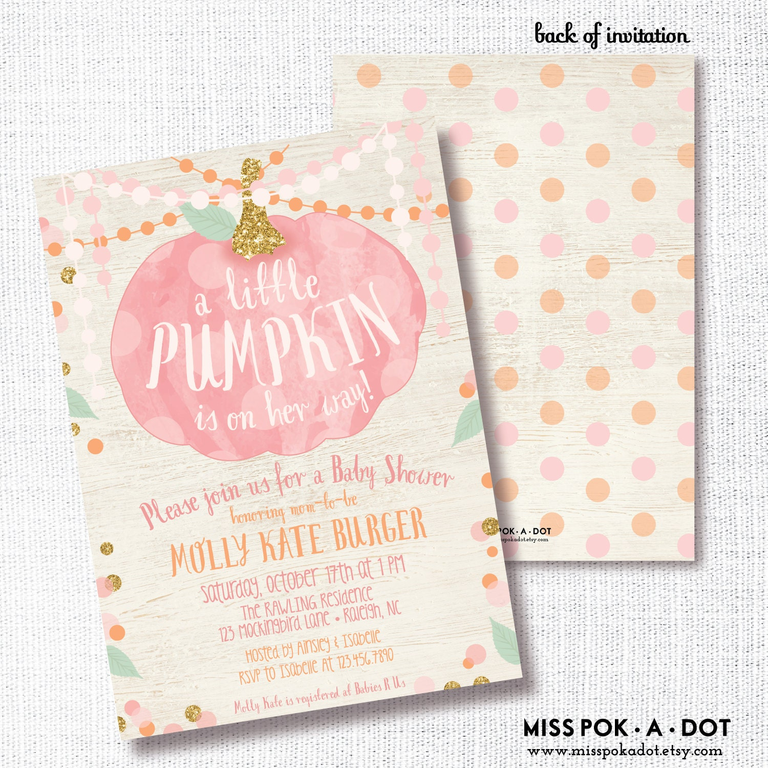 Pink Pumpkin Girl Fall Baby Shower Invitation Printable